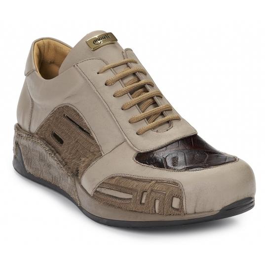 Mauri 8587 Tevere Nappa & Crocodile & Pony Sneakers Paloma / Rust / Brown Image