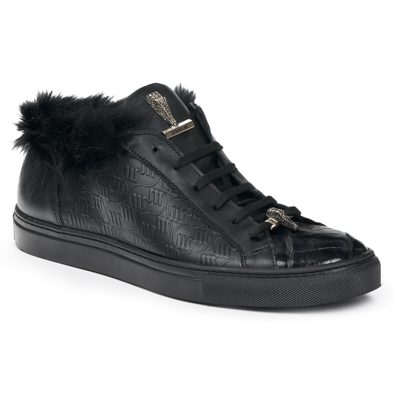 Mauri 8591 Nappa & Crocodile Sneakers Black Image
