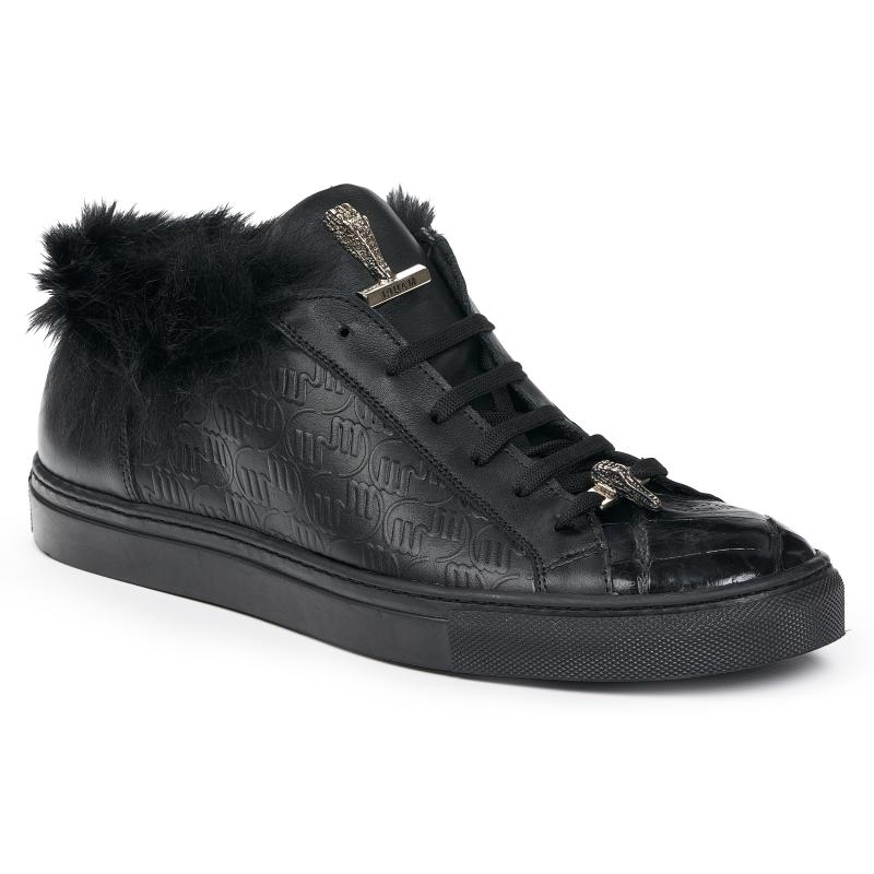 Mauri 8591 Nappa & Crocodile Sneakers Black Image