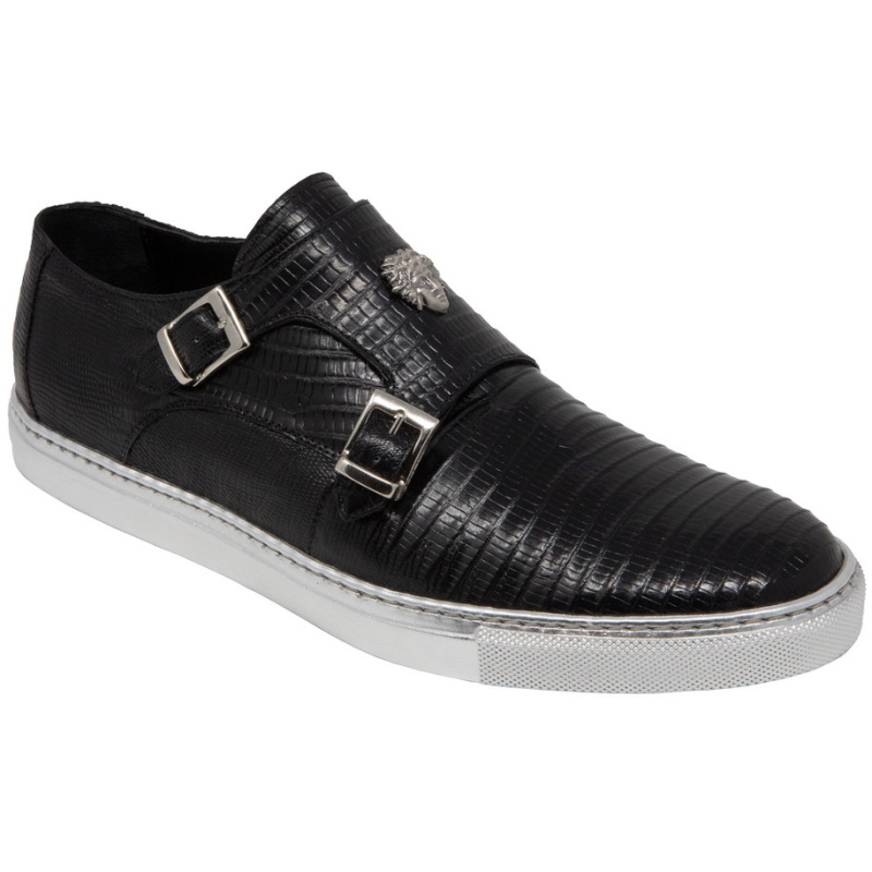 Mauri 8592 Trendsetter Lizard Double Monk Strap Sneakers Black (Special Order) Image