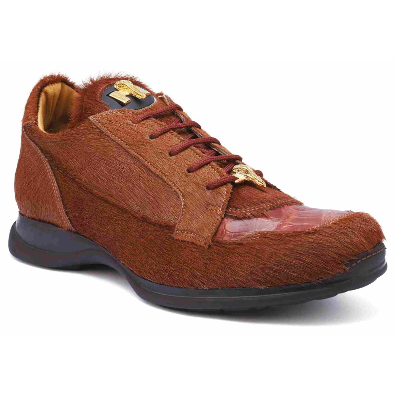 Mauri 8594 Mustang Pony & Crocodile Sneakers Brown (Special Order) Image