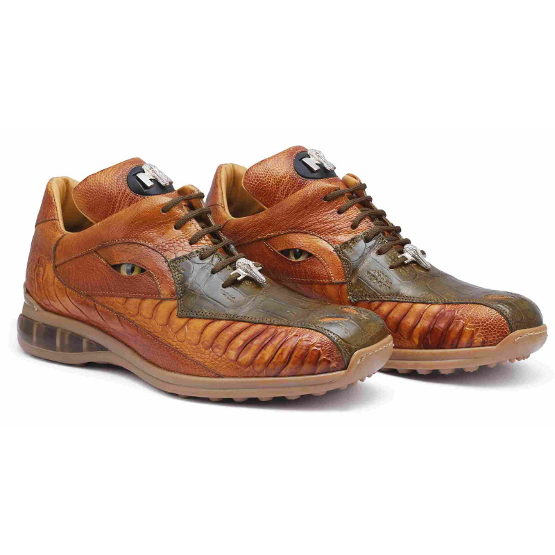 Mauri 8596 Apocalypse Crocodile & Ostrich Sneakers Olive / Mustard (Special Order) Image