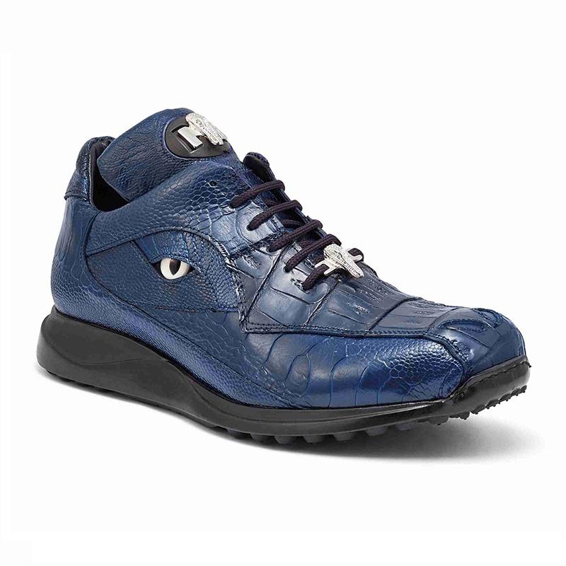 Mauri 8596 Baby Crocodile / Ostrich Leg Sneakers Blue Image