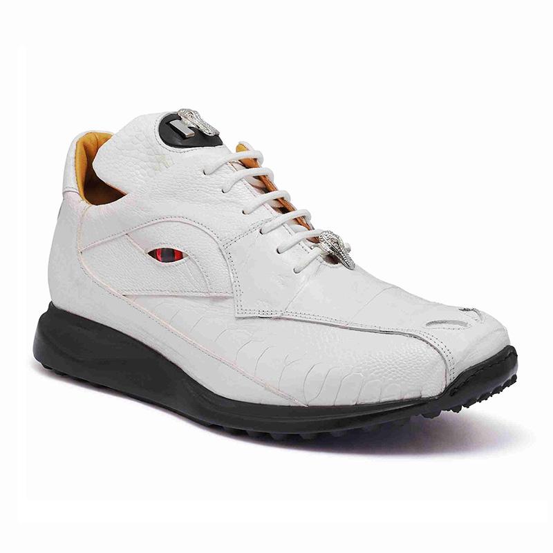 Mauri 8596 Baby Crocodile / Ostrich Leg Sneakers White Image