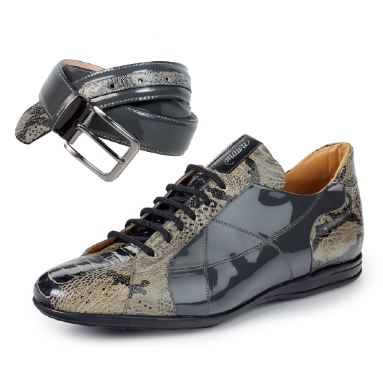Mauri 8662 Studio Patent / Ostrich / Printed Python Sneakers Gray (SPECIAL ORDER) Image