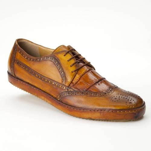Mauri 8668 Brogue Alligator & Calfskin Wingtip Shoes Whiskey (Special Order) Image