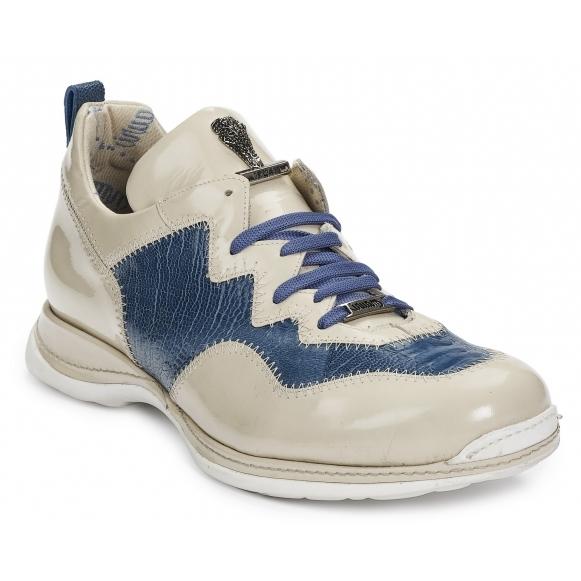 Mauri 8696 Tanaro Patent Leather & Ostrich Leg Beige / Caribbean Blue (Special Order) Image