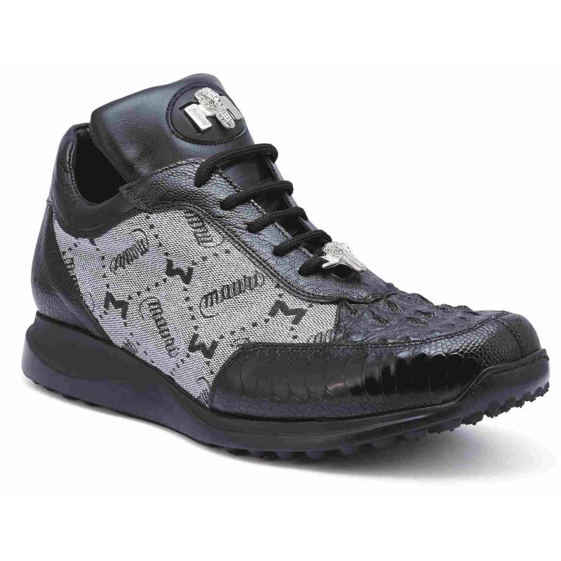Mauri 8741-2 Ostrich & Hornback Sneakers Black Image