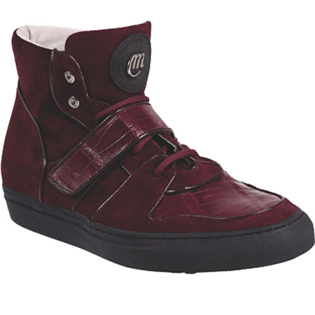 Mauri 8877 Croco & Suede High Top Sneakers Ruby Red (Special Order) Image