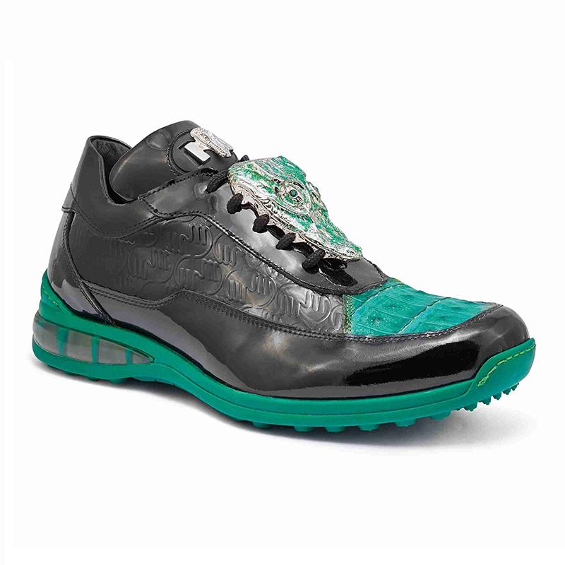 Mauri 8900 2 Baby Crocodile / Embossed Patent Sneakers Black / Leaf Green / Grande (Special Order) Image