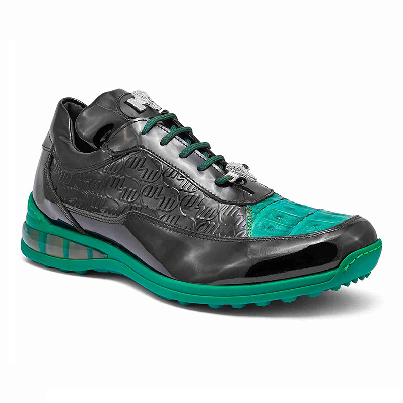 Mauri 8900 2 Baby Crocodile / Embossed Patent Sneakers Black / Leaf Green / Piccolo Image