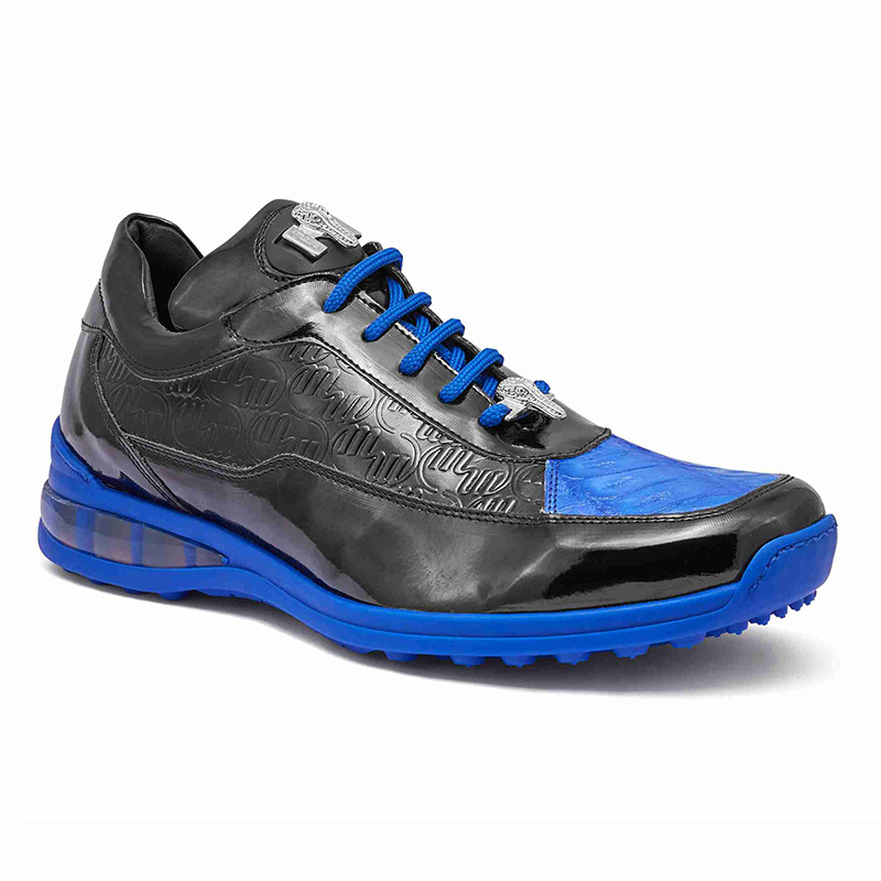 Mauri 8900 2 Baby Crocodile / Embossed Patent Sneakers Black / Royal Blue Image