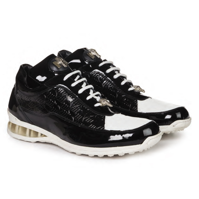Mauri 8900-2 Bubble Patent Leather Embossed Baby Croc Black / White Image