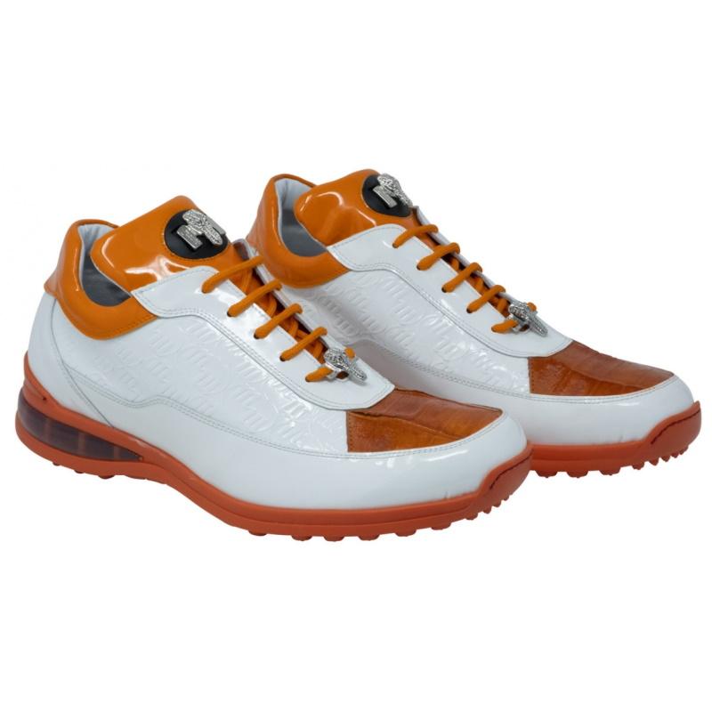 Mauri 8900-2 Bubble Crocodile & Patent Leather Sneakers White / Orange Image