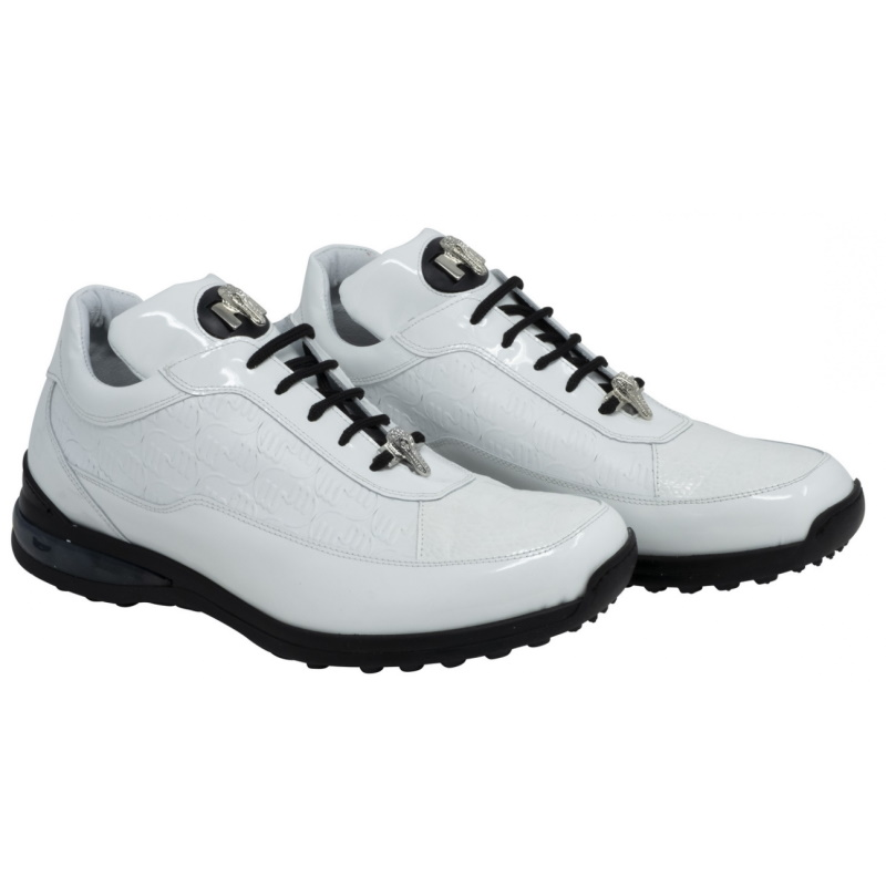 Mauri 8900-2 Bubble Ostrich & Patent Leather Sneakers White Image