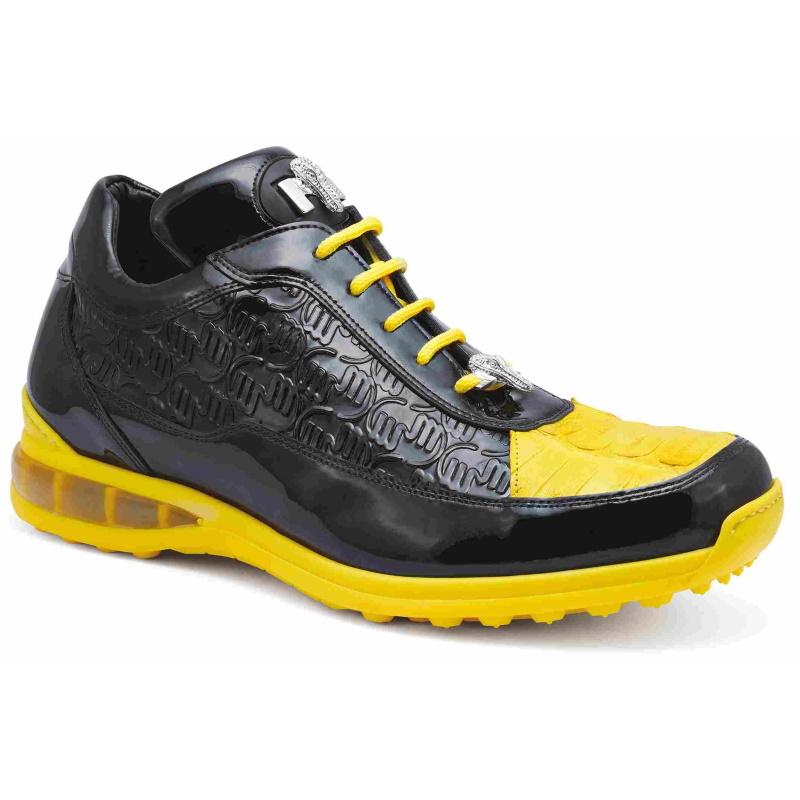 Mauri 8900-2 Bubble Crocodile & Embossed Sneakers Black/Yellow Image