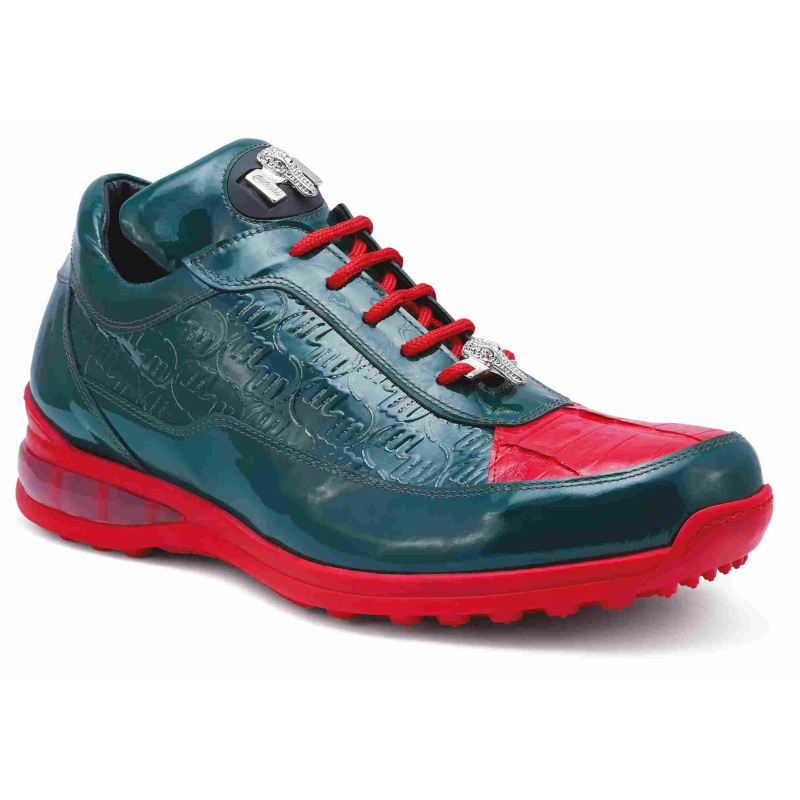 Mauri 8900-2 Bubble Crocodile & Embossed Sneakers Green/Red (Special Order) Image
