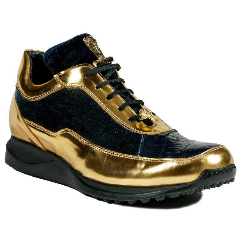 Mauri 8900-2 Crocodile & Velvet Sneakers Blue / Gold Image
