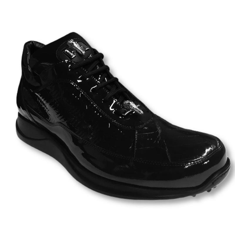 Mauri 8900-2 Crocodile & Patent Leather Sneakers Black Image