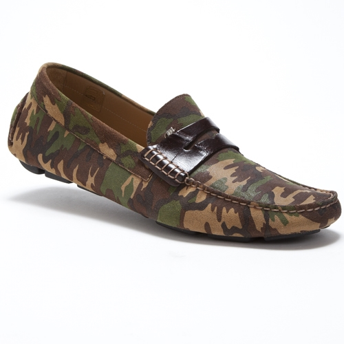 Mauri 9228 Camo Suede & Crocodile Driving Loafers Camouflage (Special Order) Image