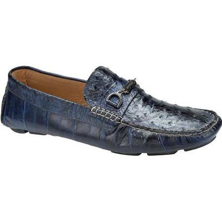 Mauri 9226 Eel & Ostrich Driving Loafers Blue (Special Order) Image