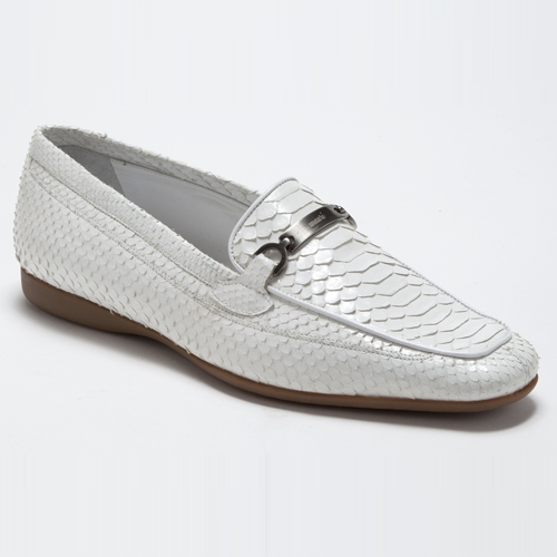 Mauri 9233 Blanc Python Bit Loafers White (Special Order) Image