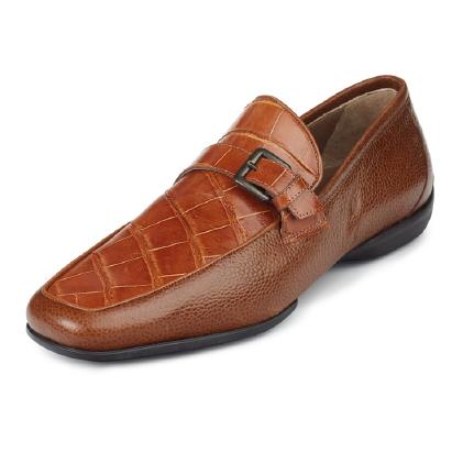 Mauri Montana 9259 Alligator & Pebble Grain Monk Strap Loafers Cognac (Special Order) Image