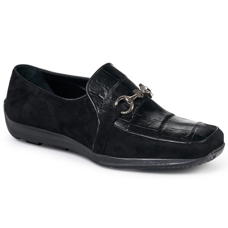Mauri 9297 Alligator & Suede Bit Loafers Black Image