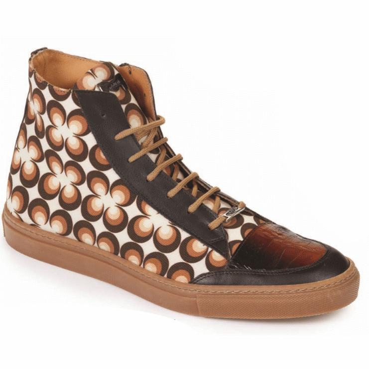 Mauri M730 Fontanesi Crocodile & Fabric Sneakers Multi Brown (Special Order) Image