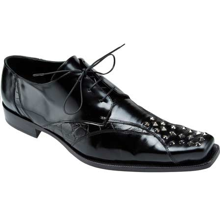 Mauri Avanguardia 44253 Shiny Calfskin & Alligator Shoes Black (Special Order) Image