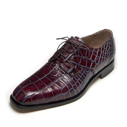Mauri Barocco 4613 Alligator Derby Shoes Ruby Red / Blue SPECIAL ORDER Image