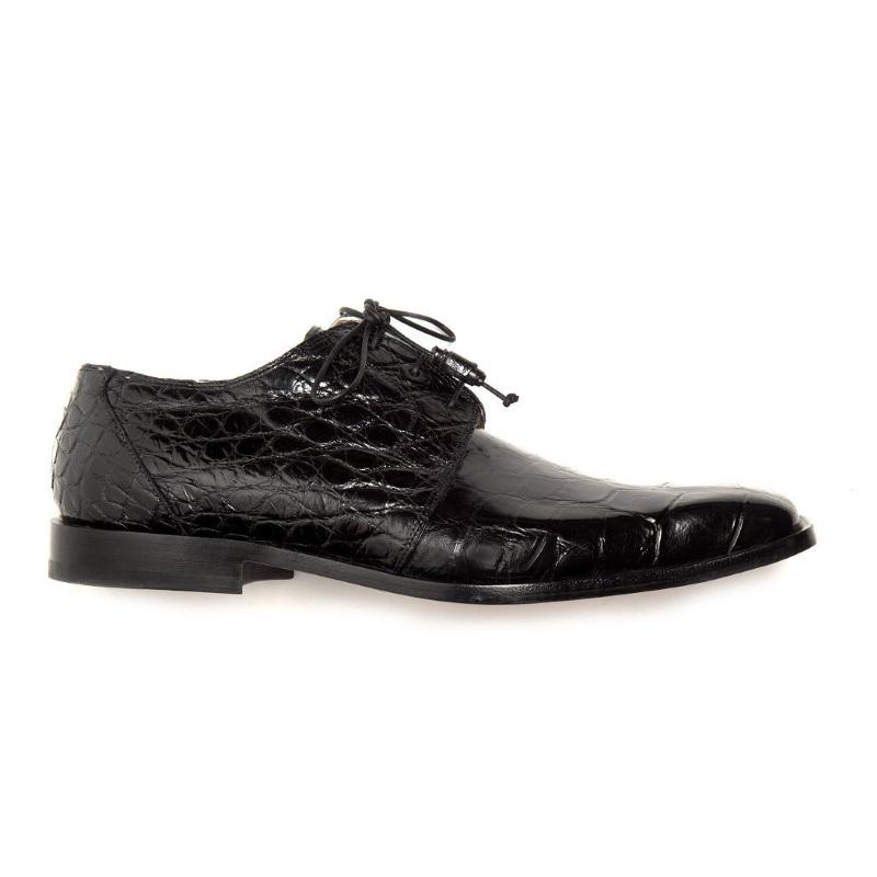 Mauri Bartolomco 53141-1 Alligator Derby Shoes Black (SPECIAL ORDER) Image