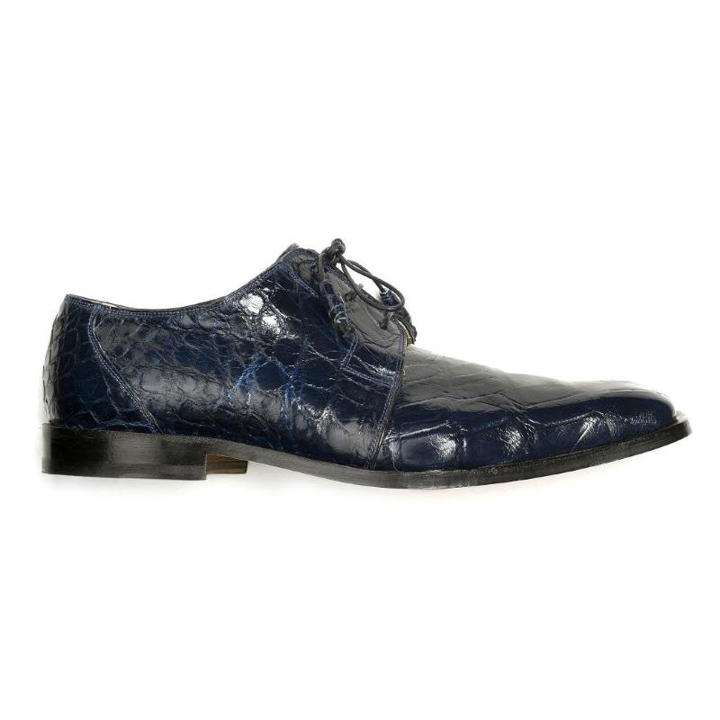 Mauri Bartolomco 53141-1 Alligator Derby Shoes Blue (SPECIAL ORDER) Image