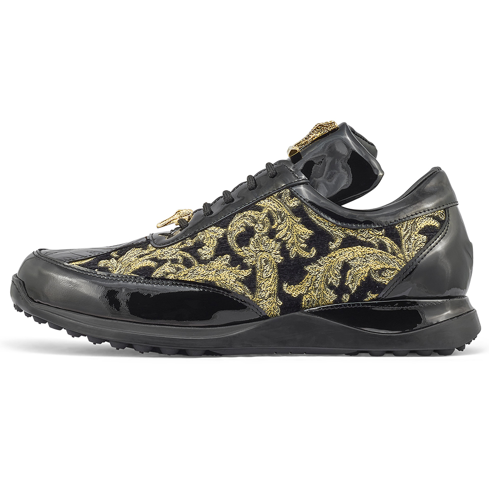 Mauri Blunt 8514 Patent / Baby Croc & Didier Fabric Sneakers Black / Gold Image