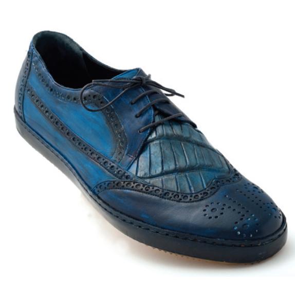 Mauri Brouge 8668 Calfskin & Alligator Wingtip Sneakers Blue (Special Order) Image