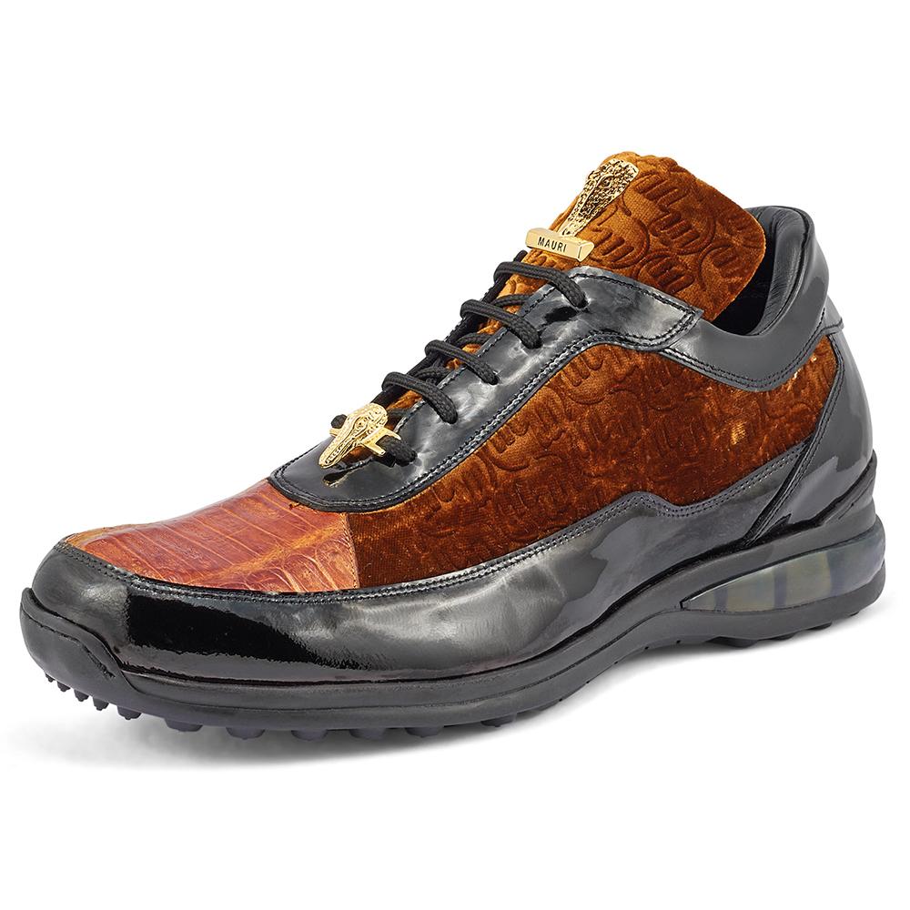 Mauri Bubble 8900/2 Patent Croc & Velvet Sneakers Black / Mustard / Camel Image