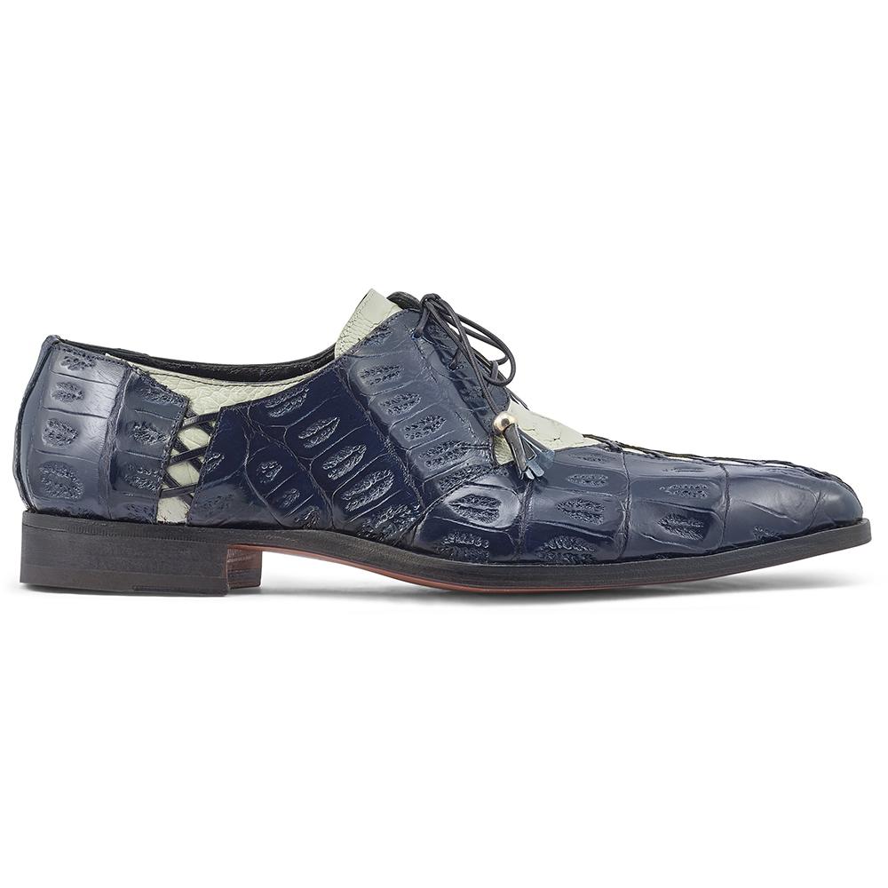 Mauri Bumpy 4942 Ostrich Leg & Baby Croc Shoes Acre Raindrops / W Blue Image