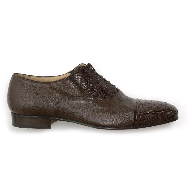 Mauri Capitano 4660 Ostrich & Peccary Cap Toe Oxfords Brown (Special Order) Image