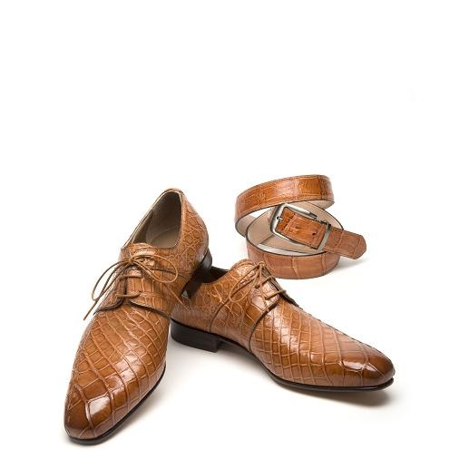 Mauri Castello 1162 Alligator Derby Shoes Cognac (SPECIAL ORDER) Image