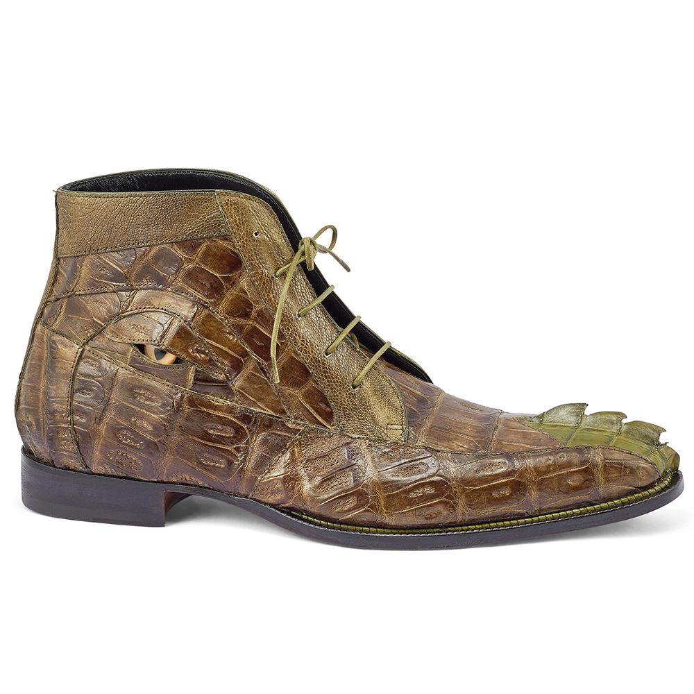 Mauri 3079 Hornback Tail / Baby Croc & Ostrich Leg Boots Money Green Image
