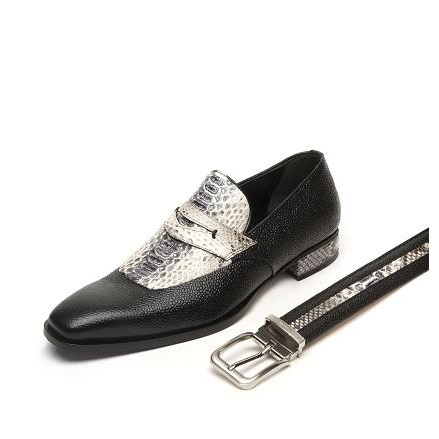 Mauri Cobra 4646 Pebble Grain & Python Loafers Black (SPECIAL ORDER)/ Gray Image