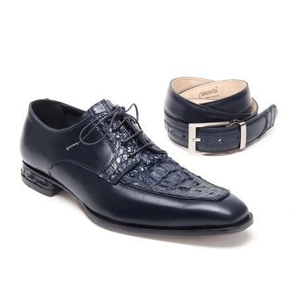 Mauri Colonna 4642 Hornback Crocodile Derby Shoes Wonder Blue (Special Order) Image