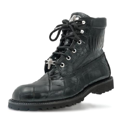 Mauri Commando 4637 Alligator & Ostrich Boots Black (Special Order) Image