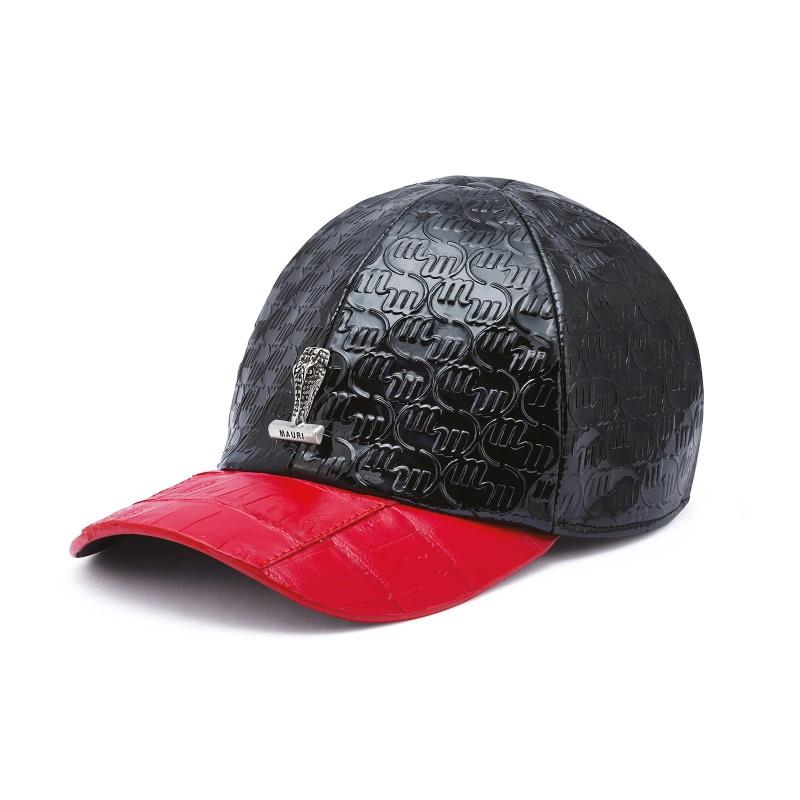 Mauri Crocodile & Embossed Patent Leather Hat Black/Red Image