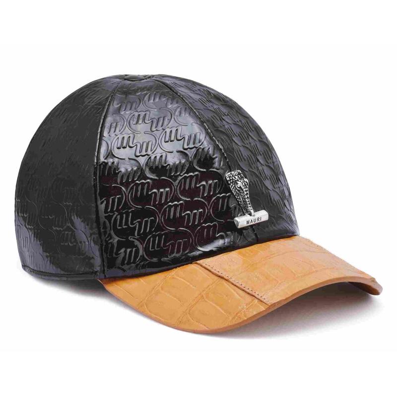 Mauri Crocodile & Embossed Patent Leather Hat Dark Brown/Dune Image