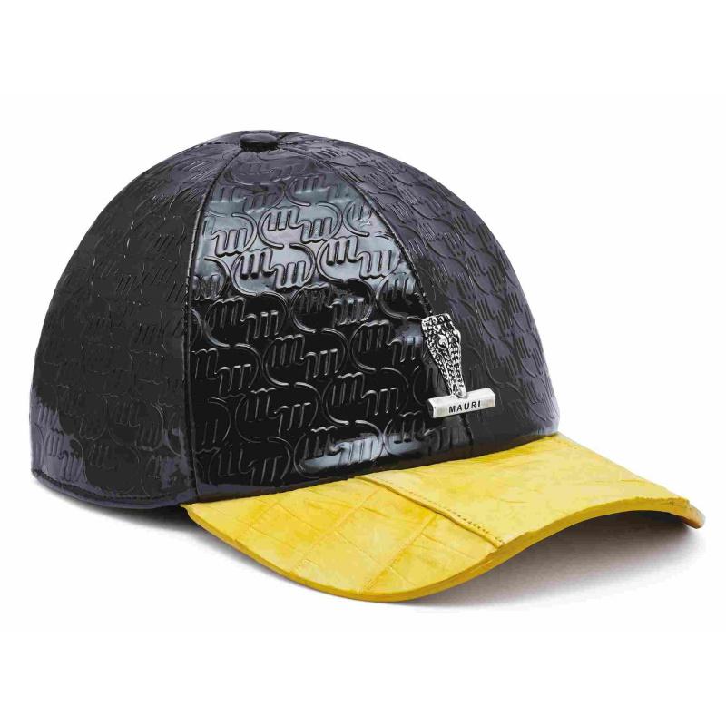 Mauri Crocodile & Embossed Patent Leather Hat Black/Yellow Image