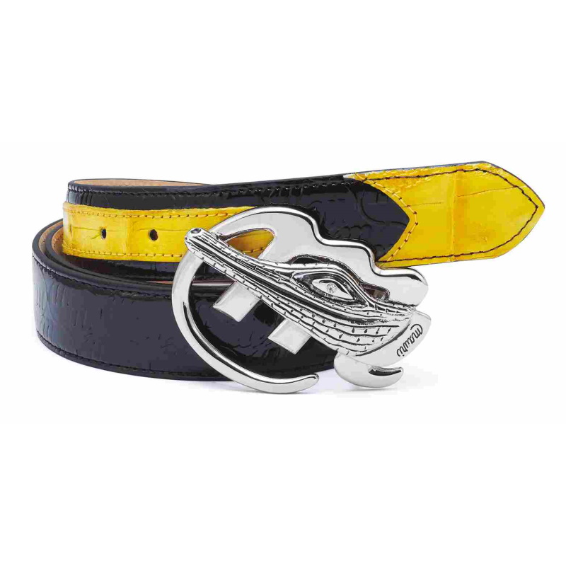 Mauri Crocodile & Embossed Patent Belt Black/Yellow Image