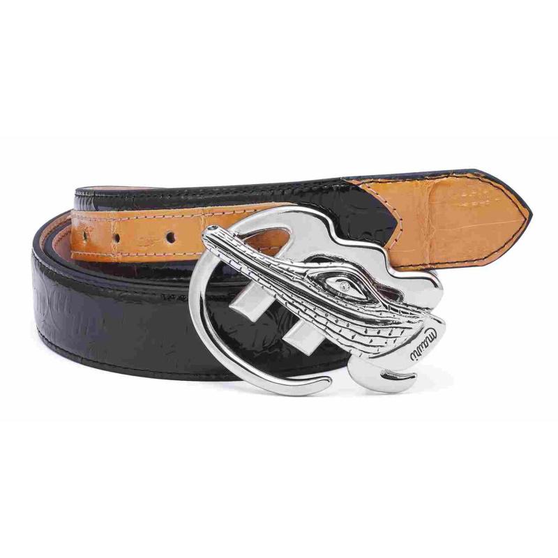 Mauri Crocodile & Embossed Patent Belt Black/Brown Image