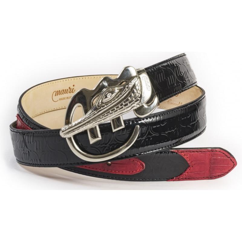 Mauri Crocodile  & Embossed Patent Belt Black / Red Image