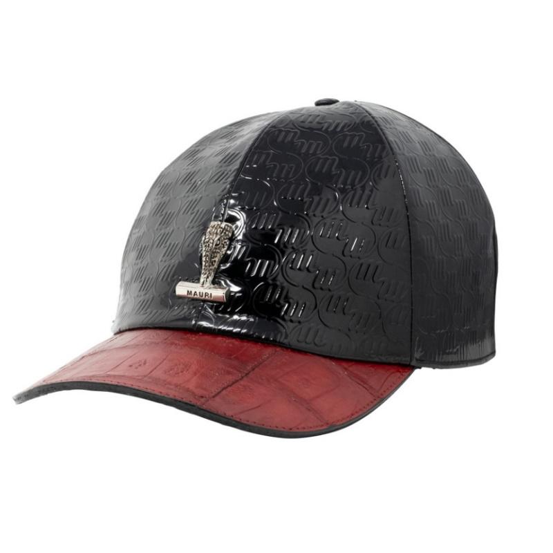 Mauri Crocodile  & Embossed Patent Cap Black / Red (Special Order) Image